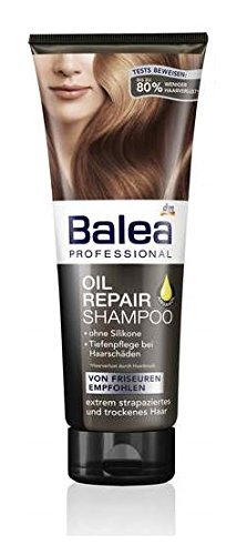 Balea Professional Oil Repair Shampoo with Argan Oil - for Extremely Damaged & Dry Hair - Silicone Free / Not Tested on Animals - 250ml by dm balea (Best Shampoo Not Tested On Animals)