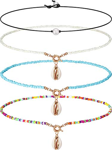 Single Pearl Choker Necklace 3 Bead Necklace Single Gemstone/Turquoise Choker and Blue Turquoise Necklace on Leather Cord for Women Girl, 4 Pieces (Pearl and Beads)