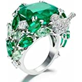 Sumanee New Fashion Women/Mens 925 Silver Emerald Small Bird Ring Wedding Party Jewelry (6)