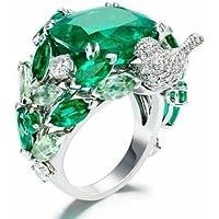 SujareeShop New Fashion Women/Mens 925 Silver Emerald Small Bird Ring Wedding Party Jewelry (9)