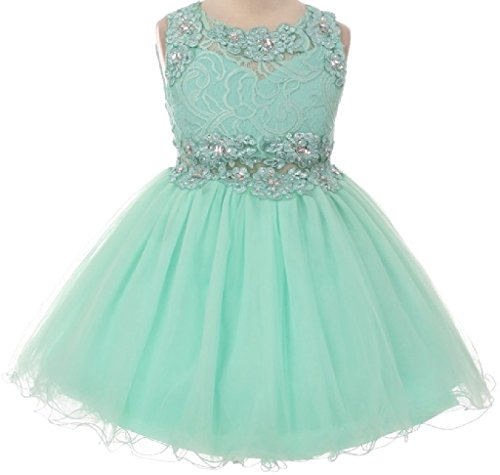 Price comparison product image Big Girls Sparkling Rhinestone Sequence Bodice Flower Girls Dresses (5M2B) Mint 12