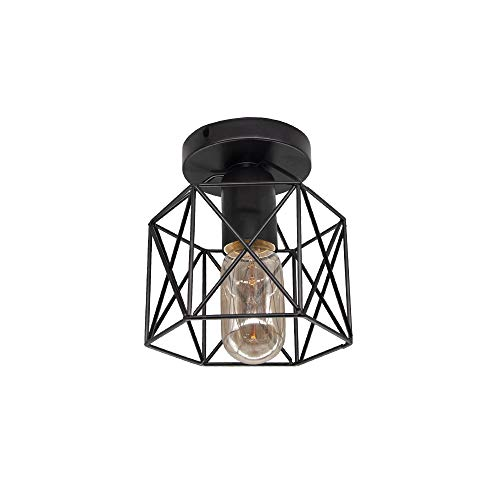 Vintage led plafondlamp zwart ijzeren kooi opbouw licht, voor keuken slaapkamer balkon bar edison lamp warm licht…