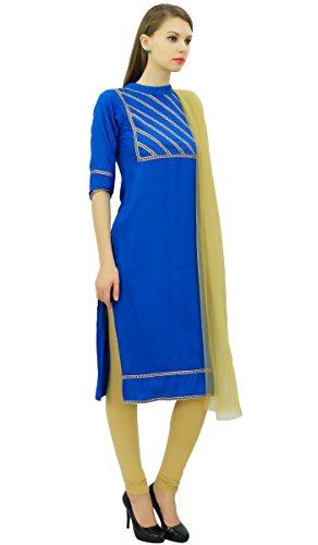 Indischen Koenigsblau Frauen Straight und Beige Set Readymade Suit Freizeitkleidung Baumwolle Atasi PYxqUR