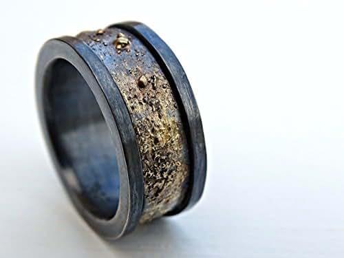 Amazon.com: man wedding band, black gold ring men, viking