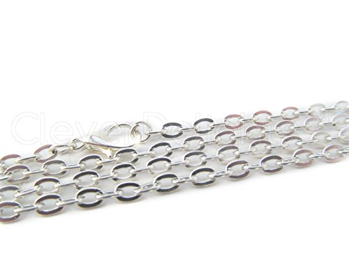 CleverDelights 20 Pk 3x4mm Flat Oval Link Necklaces - Silver Color - 24 Inch - Vintage Style Cable Chains