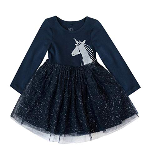 Coralup Toddler Girls Unicorn Long Sleeve Tutu Dress(Navy,2-3 Years)]()