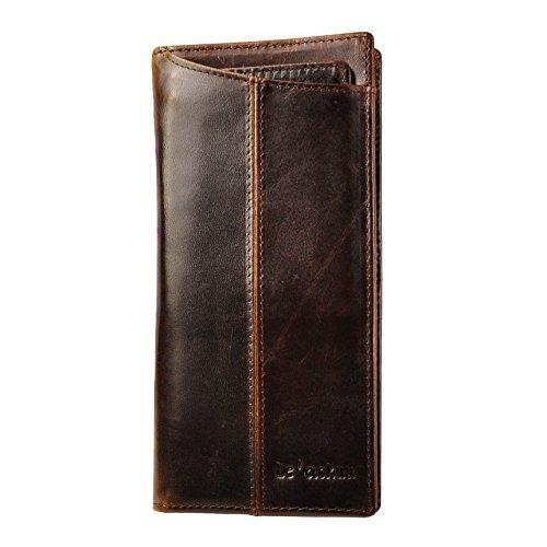 Leaokuu Mens Genuine Leather Bifold Wallet Organizer Checkbook Card Case