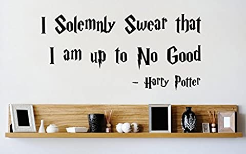 Vinyl Wall Decal Sticker : I Solemnly Swear That I Am Up To No Good Harry Potter Quote Bedroom Bathroom Living Room Picture Art Peel & Stick Mural Size: 10 Inches X 20 Inches - 22 Colors (Dark Purple Wallpaper)
