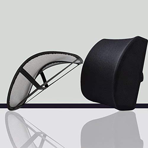 Soporte de la espalda cojín lumbar malla almohada | seguro & Eficaz 2-en-1inferior dolor de espalda Cojín viscoelástico...