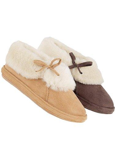 106 Kalinda-Ladies fur cuff slipper.-6 Sand 1w0i74PP9