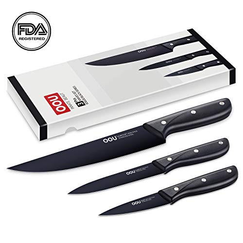 """OOU Kitchen Knife Set Chef Knives, 3 Pieces Gift Set, High Carbon Stainless Steel, 8"""" Chef Knife, 5"""" Utility Knife, 3.5"""" Paring Knife, Full Tang Blade, Ultra Sharp & Ergonomic handle, FDA Certified"""
