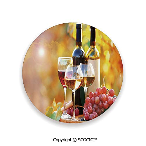 Grapes Wine Bottle Coaster - Coaster For Drinks With Vibrant Colors And Cork Backing, Ceramics with cork bottom, Circle area coaster,Wine,Tasty Wine on Wooden Barrel on Grape Plantation,3.9