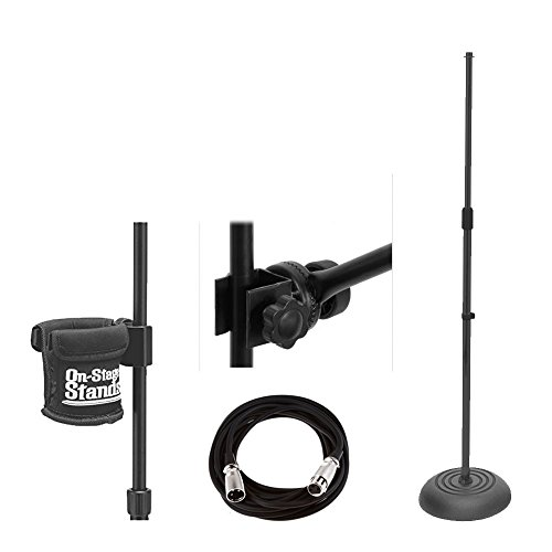 On Stage Round Base Mic Stand MS7201B + On Stage Posi-Lok Side Mount Boom + Mic Cable, 20 ft. XLR Bulk + Clamp-On Drink Holder MSA5050 + Complete Value Accessory (Ms7201b Round Base)
