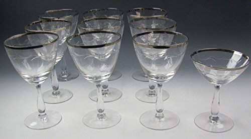 (Lot of 10 Tiffin SIMONE-PLATINUM TRIM Tall Champagne Glass & Water Goblets EX)