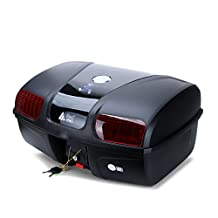 AUTOINBOX Universal Motorcycle Rear Top Box Tail Trunk Luggage Storage Case,47 Litre Hard Case with Mounting Hardare,with LED Light,Black