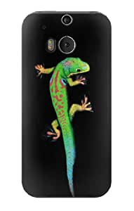 S0125 Green Madagascan Gecko Case Cover for HTC ONE M8