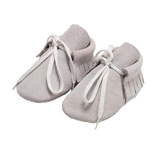 Leap Frog Lace Up Moccasins - Zapatos primeros pasos de piel vuelta para niño gris