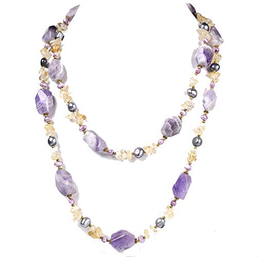 Ny6design Natural Golden Citrine & Purple Amethyst Pearl Long Necklace 43