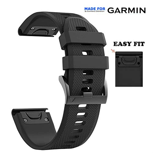 Ecommerce Distributors Garmin Fenix 5X / 5X Plus Quick Release Easy Fit Silicone Replacement Watch Band for Garmin Fenix 5X, Quatix 3, Fenix 3 HR, Tactix Bravo, Foretrex 701 (Black, 26MM)