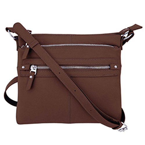 Brown SILVERFEVER Medium 2 Crossbody Leather Zip Traveler Purse Genuine Handbag pcpwCqzB7v