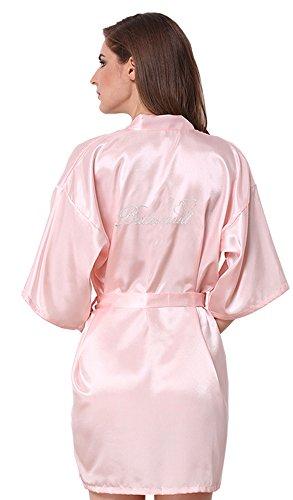 Embroidered Satin Robe (JOYTTON Women's Satin Kimono Robe With Embroidered Bridesmaid Short Light Pink M)