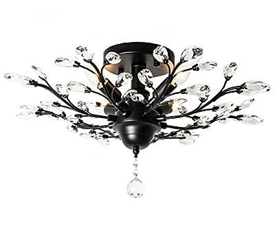Ganeed Vintage K9 Clear Crystal Chandeliers,Ceiling Lighting,Pendant Lighting Flush Mounted Fixture for Living Room Dinning Room Restaurant Porch Hallway (Black)