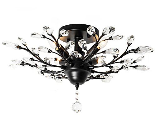 Garwarm 4 Lights Vintage Crystal Chandeliers Ceiling Lights LED Light Crystal Pendant Lighting Ceiling Light Fixtures Chandeliers Lighting for Living Room Bedroom Restaurant Porch Chandelier(Black) Arm White Flower Crystal Chandelier