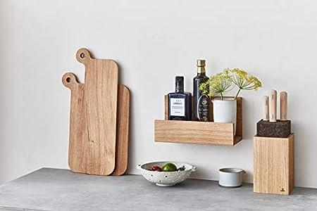 QONTUR Estantería de cocina de madera de roble macizo, 30 cm de ancho, para colgar, estante de pared para especias, botellas, tabla de cortar o barra para cuadros