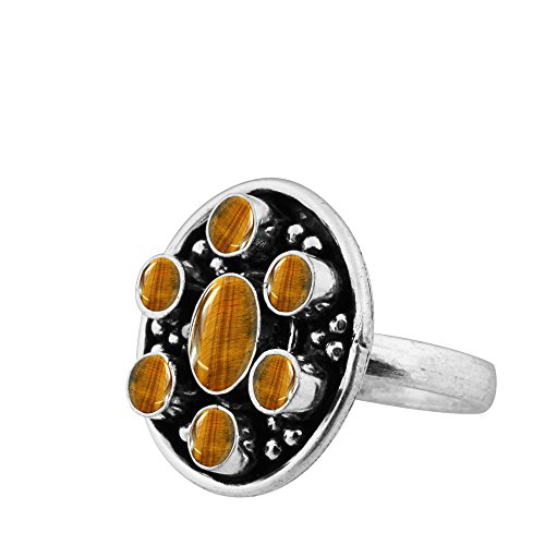 925 Silver Tiger (925 Silver Plated 3.10ct Genuine Tiger Eye 5x7mm Oval Handmade Ring (Size-5))