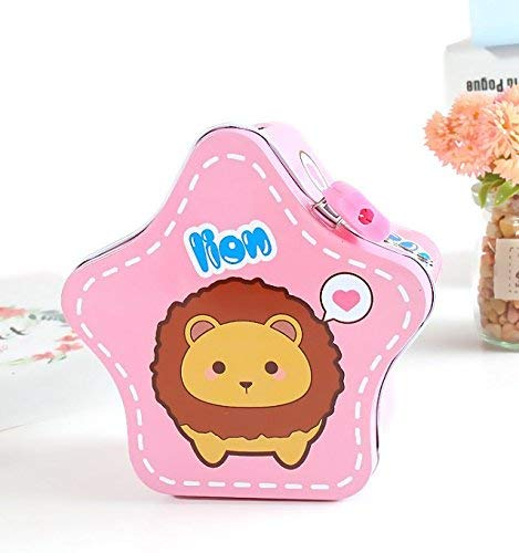 BGRFEB Cartoon Pentacles Piggy Bank Children's Gift Creative Tinplate Piggy Bank with Lock (Pink) Desktop Decor Money ()