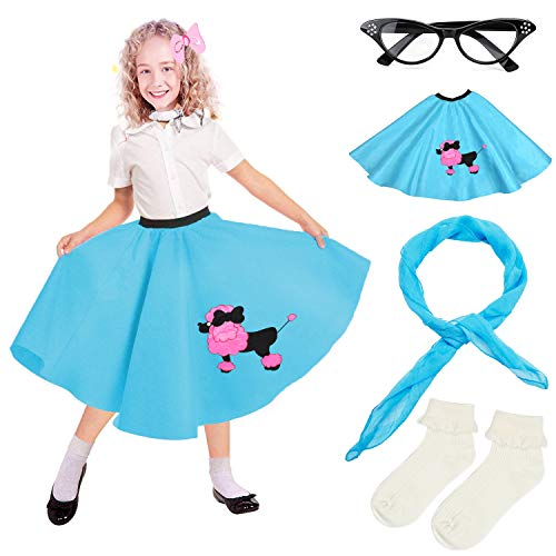 Vintage Poodle Skirt (Beelittle 4 Pieces 50s Girls Costume Accessories Set - Vintage Poodle Skirt, Chiffon Scarf, Cat Eye Glasses, Bobby Socks)
