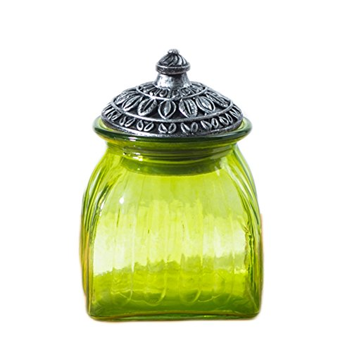 (SOCOSY Vintage Crystal Glass Candy Jar with Lid Food Jar Nut Jar Jewelry Box Wedding Candy Buffet Jars Kitchen Storage Assorted Color 24 oz)
