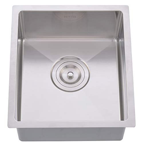 - Hotis Commercial Stainless Steel Single Bowl 16 Gauge Drop In 13 1/4 x 14 7/8 Inch Undermount Square Small Prep Kitchen sink, Bar Sink With Strainer