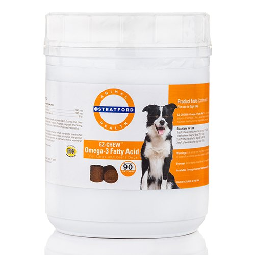 Stratford Pharmaceuticals EZ Chew Omega 3 Fatty Acid Soft Chew Max Strength - Dog Omega 3 Supplement - Soft Chew Treats with Fish Oil for Dogs - Large and Giant - 3 Store Stratford