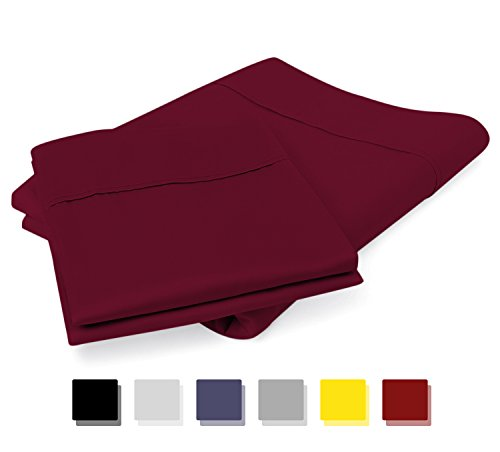 800 Thread Count 100% Egyptian Cotton Pillow Cases, Burgundy Standard Pillowcase Set of 2, Long-Staple Combed Pure Natural 100% Cotton Pillows for Sleeping, Soft & Silky Sateen Weave Bed Pillow Cover