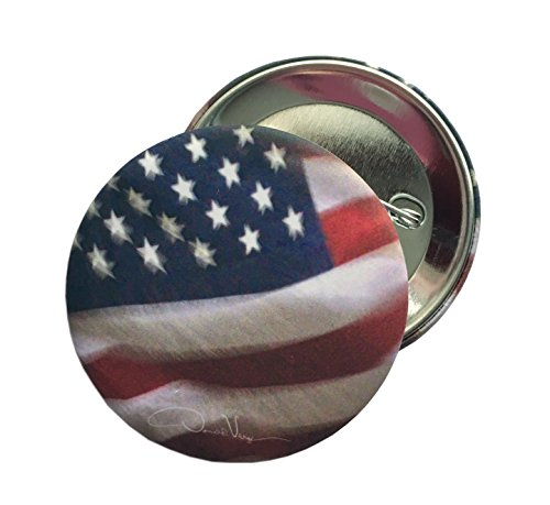 Night Glory - American Flag Button. 2.25 in. Matte Finish. Unique Collectible Pins. Great for College, Peace, Birthday, Christmas, Mother's Day & Valentines Gifts for Women, Men & Kids. (Photo Pins Buttons)