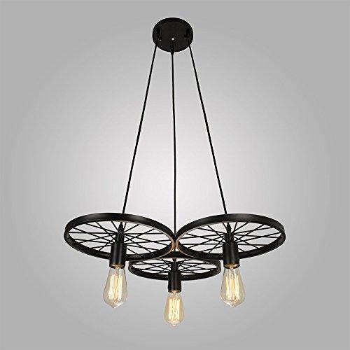 Vintage Chandelier, MKLOT Ecopower Nordic American Pastoral Contemporary Pendant Light Ceiling Lighting Chandelier Iron Wheel 3-Lights