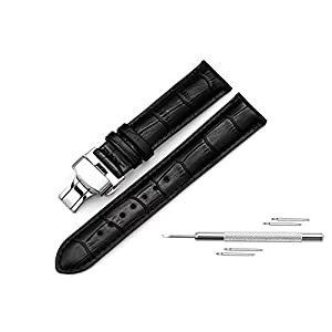 Watch Band Replacment for Men Leather Watch Strap 20mm 22mm Deployant Clasp Butterfly Buckle for Men 4 Color Choose