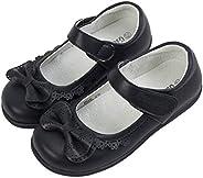 WUIWUIYU Girls' Kids's Black Leather School Uniform Shoes Dressy Mary Janes F