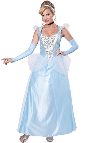 Fairytale Dresses For Adults (California Costumes Women's Classic Cinderella Fairytale Princess Long Dress Gown, Blue/White, X-Small)