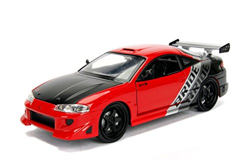 NEW 1:24 JADA TOYS DISPLAY JDM TUNERS COLLECTION - 1995 Mitsubishi Eclipse Bride Red Diecast Model Car By Jada Toys (WITHOUT RETAIL BOX)