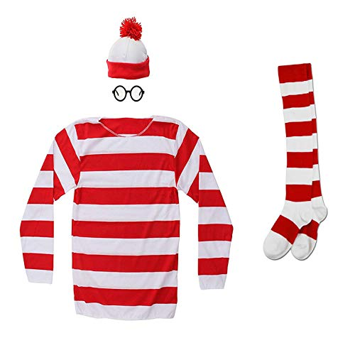 Hilary Ella Adult Where's Waldo Costume Funny Sweatshirt Outfit Glasses Suits, Women Small, ()