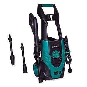 VONROC Nettoyeur haute pression 1400W – 110 bar, 390L/h, 50° max. – Tuyau, lance, pistolet buses, aiguille de nettoyage…