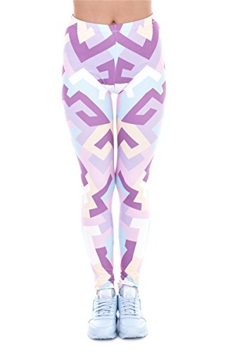 Alive Women's Digital Print High Waist Stretchy Ankle Sexy Leggings Tights (Geometric Shapes Pink)
