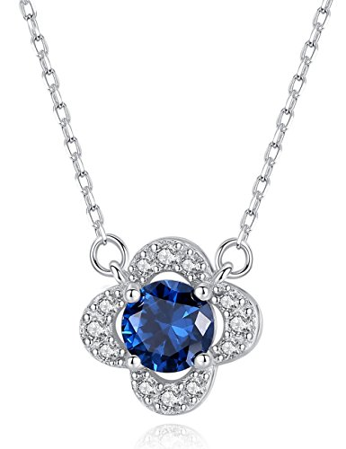 2ct Sapphire Pendant Necklace Sterling Silver Clover Shaped September Birthstone Fine Jewelry for Women 16-18in