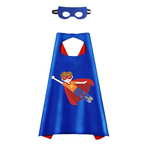 STARKMA Cartoon Role Play Super Boy Costume Thermal Pransfer Satin Cape with Felt Mask