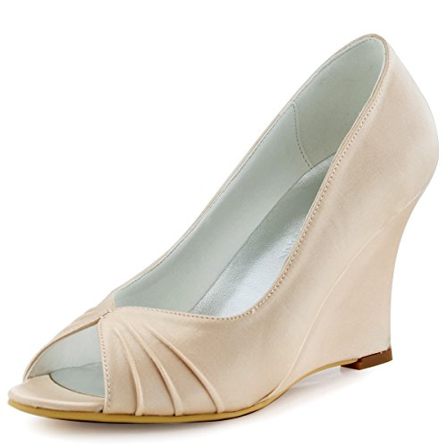 Satin Evening 4 Peep Toe EP2009 Wedding Shoes Pleated Heel US Wedges Women Party Champagne High Elegantpark qEn1wZvxx