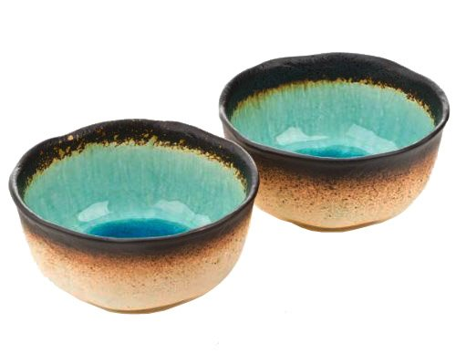 Happy Sales HSF56/MA2 Green Kosui Large Bowls (Set of 2), 5 3/4