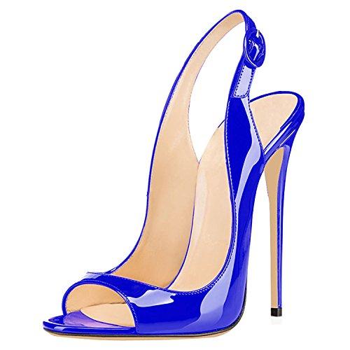 Chaussures Sandales Toe Bleu Escarpins Stiletto Talon Aiguille Size Big High Ubeauty Peep Rouge Femmes Heels Soles Pumps qSBYSwET