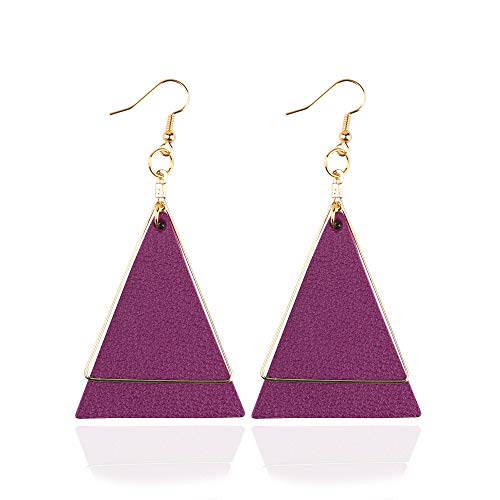 Genuine Leather Statement Earrings Triangle Geometric Leather Dangle Drop Geometric Lightweight for Women Girls (Purple 1)